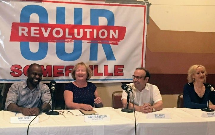 Image of event held by Our Revolution Somerville announcing Endorsed candidates for Mayor, City Council, and School Committee