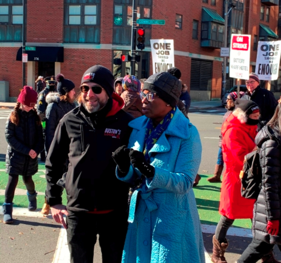 Photo of Senator Nina Turner on the Battery Wharf Picket Line November 16, 2019.