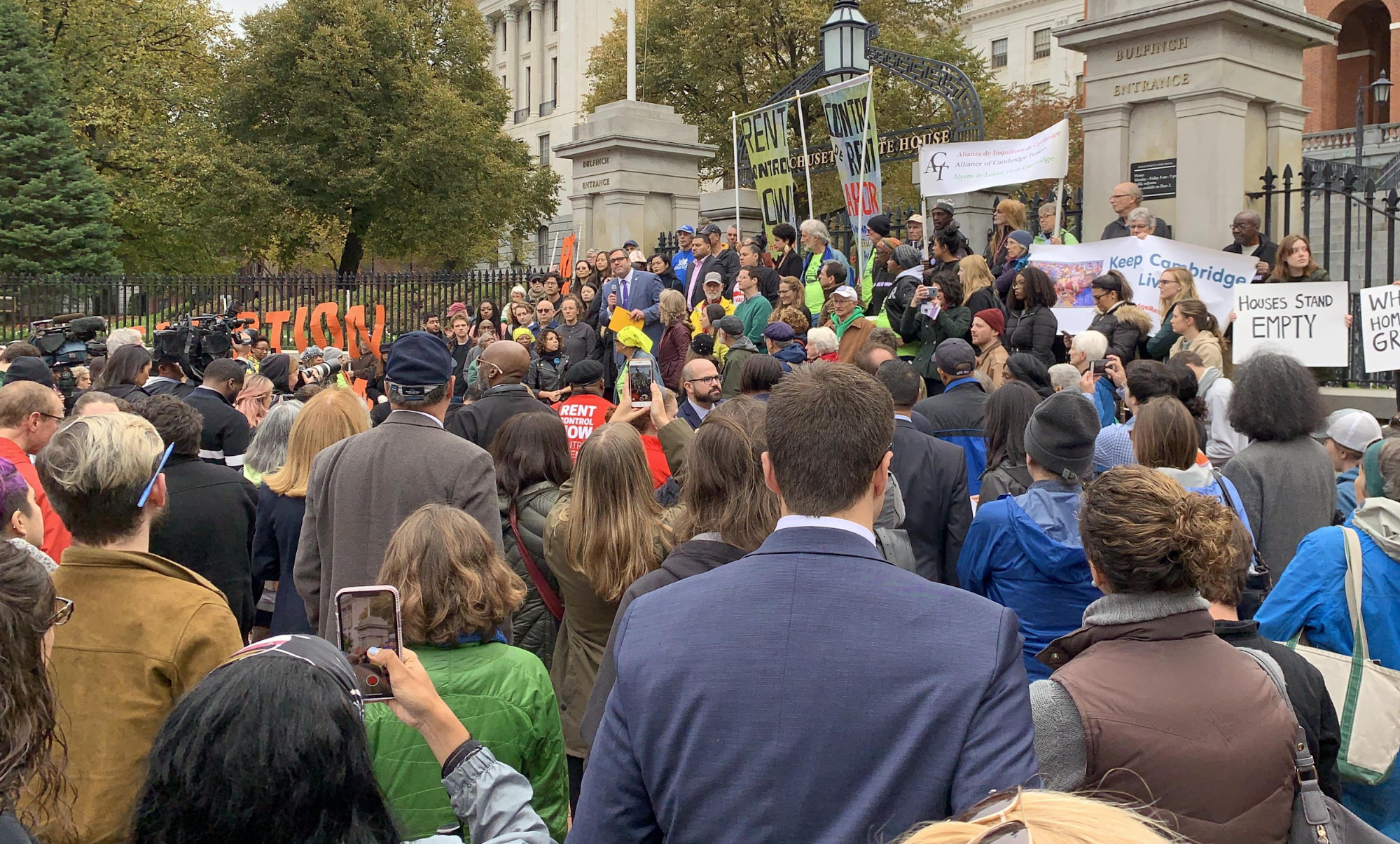 Photo of Rally for Rent Control & Tenant Protections MA State House, Oct. 29. 2019.