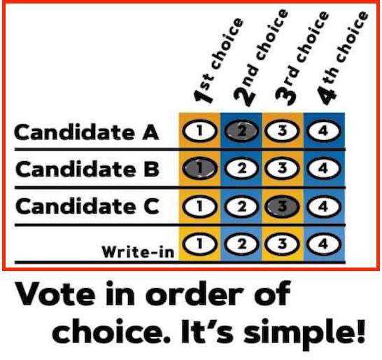 Example of a ranked-choice ballot